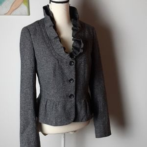 Loft wool ruffle Tweed Blazer peplum button